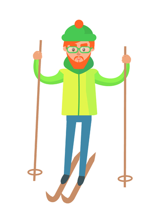 Male in Winter Gear, Riding on Skis with Ski Poles