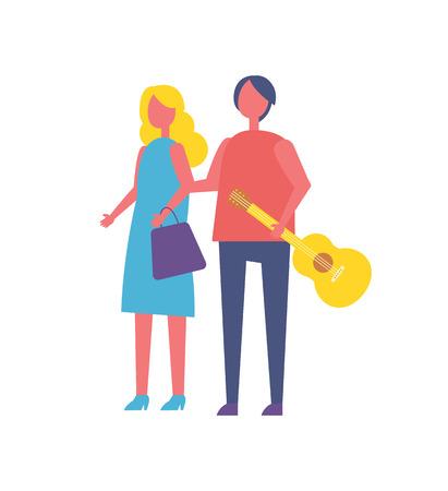 Young Couple Walking in Park Cartoon Vector Icon Stok Fotoğraf
