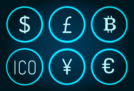 Bitcoin and Pound Sterlings Ico Icons Set Vector