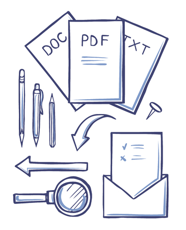 Office Documents and Envelopes Sketches Set Vector