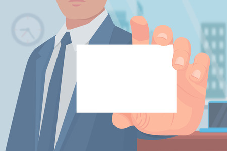 Businessman with business card empty page for text vector. Banner and male wearing formal suit working at office. Employee holding pass or document