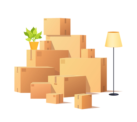 Box carton, closed cardboard packages cargo vector. Torchiere standing lamp and houseplant in pot, potted flower with leaves. Delivery and containers