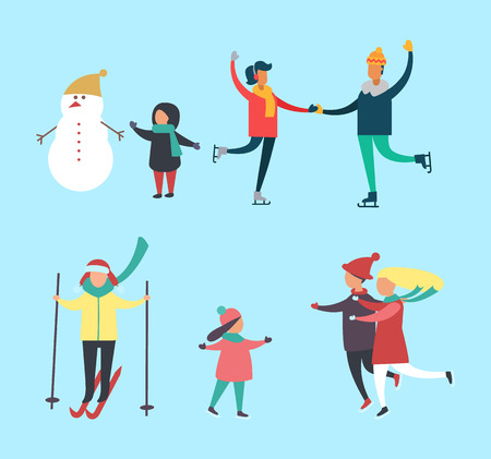 Winter snowman and kids families activity vector. People skating on ice, person with skiing equipment. Children running to parents, child man of snow Illusztráció