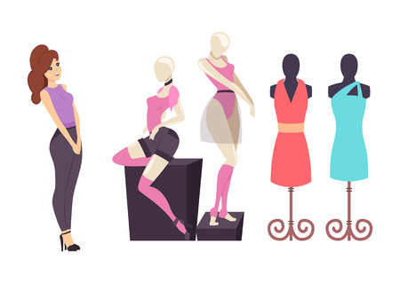 Female shopaholic, shopping in clothes store vector. Lady customer looking at shorts and t-shirt, dresses and choker placed on mannequin showcase