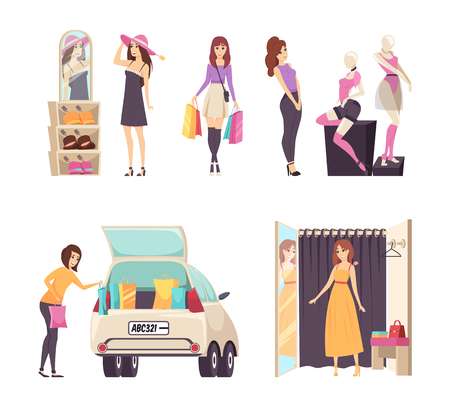 Shopping woman with paper bags walking, set vector. Lady trying hats and dress clothes, female shopper admiring t-shirt shorts on mannequin showcase