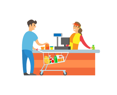 Supermarket store cashier and client, customer with basket and products vector. Woman selling goods in hypermarket, man with shopping trolley and food