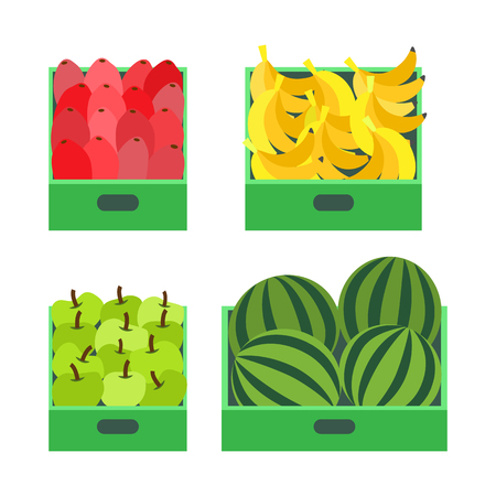 Fruit market with banana and watermelon plastic boxes at market. Banana bunches in container of shop, store with organic healthy products and meal Ilustração