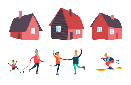 Winter season activities and people set vector. Houses with chimney and windows. Couple skating, child riding sledges and person skiing from slope Stock Illustratie