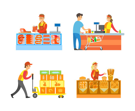 Supermarket stores departments and sellers set vector. Butchers with meat and steaks, breads and bakery production. Man loader with containers boxes
