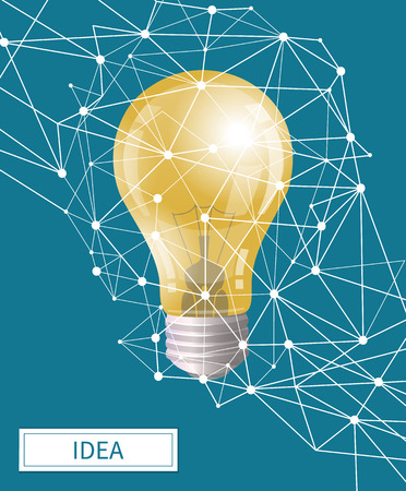 Idea in business, electric bulb illuminating light with geometric shapes vector. Poster with creative innovative thoughts and new working solutions