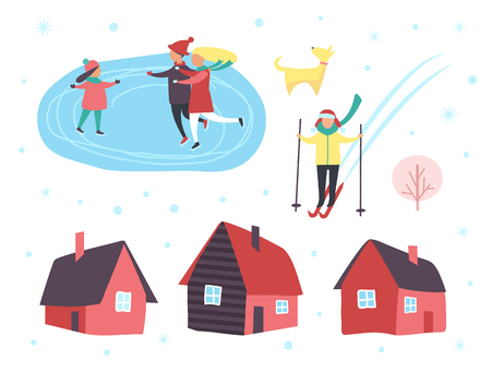Skating people, family with dog on winter ice rink vector. Houses with chimneys, tree and snowing weather. Person going downhill on skiing equipment.