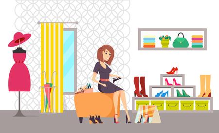 Weibliches shopaholic Einkaufen im Schuhgeschäftsvektor. Kunde wählt Stiefel, Umkleideraum mit Vorhang und Spiegel. Kleidung mit Kleidern und Accessoires Vektorgrafik
