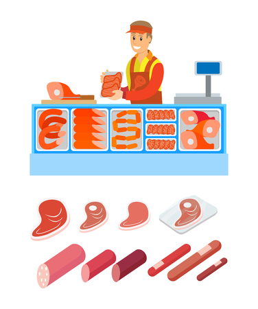 Supermarket salesperson of butcher department isolated set of products vector. Pork and beef, lamb and sausages, legs and frankfurters meat variety