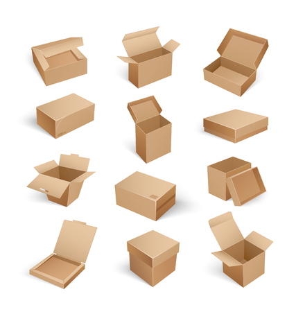 Packages boxes with opened top, set of isolated icons vector. Cardboard for products storage and shipment, transporting of items in carton containers Illustration
