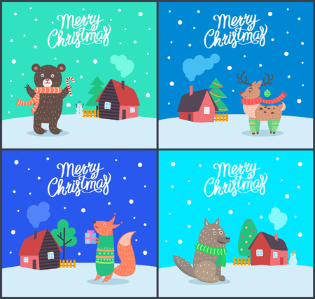 Merry Christmas Bear and Fox Set Poster Vector Çizim