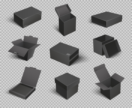 Carton boxes and opened empty packages isolated icons set vector. Containers packaging and keeping products. Goods storage transparent background
