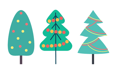 Christmas tree decorated with toys set isolated icons vector. Symbolic evergreen pine with decoration on branches. Celebration of wintertime holiday
