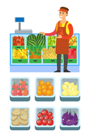 Supermarket store vegetables department vector. Shelves with watermelon, aubergine and tomato, potato and citrons. Bananas and ripe apple in container