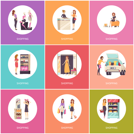 Shopping women in shops poster set with text vector. Trying on dress, shoes and jewelry items, hat and carrying bags. Purchasing of cosmetics and food