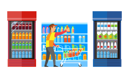 Supermarket shop with fridges and beverage drinks vector. Male worker putting plastic bottles on shelves. Milk and juices, coda and liquids in package