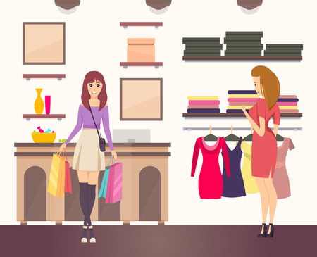 Shopping woman with purchases in paper bags vector. Clothes shop interior decorated with pictures. Shopper choosing dresses on hangers in boutique