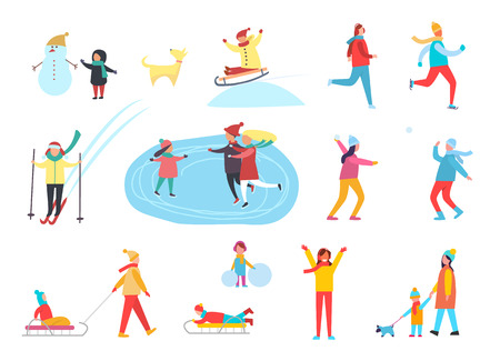 Winter holidays active people having fun, hobbies set vector. Child with snowman, kid on sledges riding down slope. Skating on ice, family walking dog 일러스트