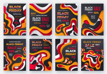 Black Friday special offer with limited time only vector. Discount and abstract design, autumnal promotion and clearance. Sales and proposals of shops