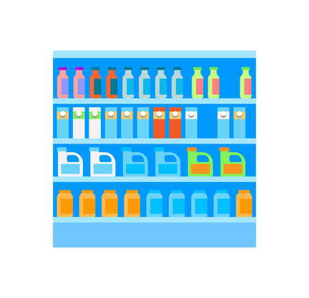 Grocery shelves with bottles and packages isolated icon of store vector. Refrigerator with liquids and beverages. Milk and juice, water products set
