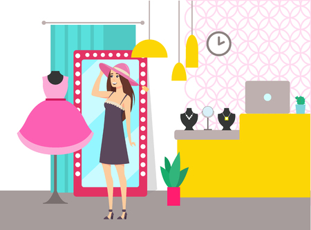 Woman shopping in store shop choosing hat vector. Lady looking in mirror, mannequin with dress. Counter of seller with jewelry accessories and plant Reklamní fotografie - 127157994
