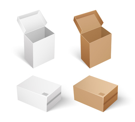 Packaging and storage concept, safe transportation and keeping inside of carton containers. Packages and boxes with opened caps isolated icons set vector