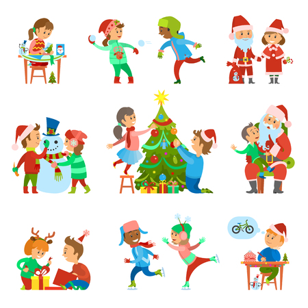 Christmas holiday people activities set vector. Child girl making handmade greeting cards, decoration of pine tree. Playing snowballs and making wish