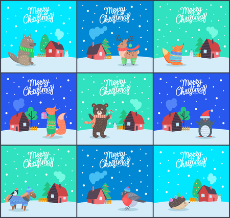Merry Christmas bear with candy and fox with present set of posters with greeting text vector. Wolf and reindeer, penguin wearing Santa Claus hat Illustration