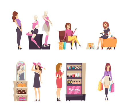 Woman looking at mannequins and clothes vector. Lady trying on shoes, female shopper with hat, person choosing makeup products, shopaholic with bags