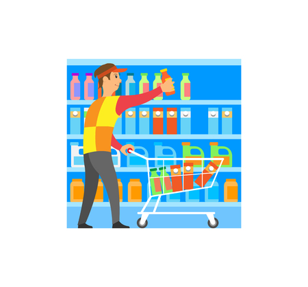 Worker working at shop food and products store merchandise vector. Man arranging items at shelves, bottles and packages with liquids milk and juice