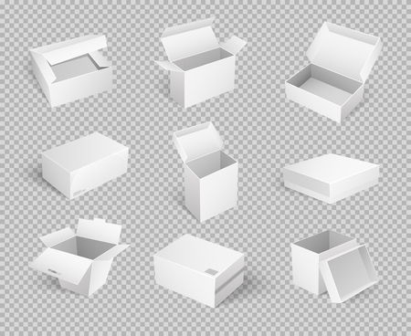 Empty Cardboard Cartoon Containers Isolated Icons 스톡 콘텐츠 - 113461818