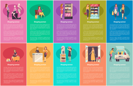 Shopping Women Beauty and Fashion Posters Vector