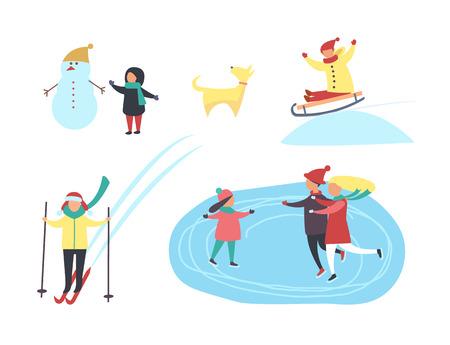 Skating and Skiing People in Winter Season Vector
