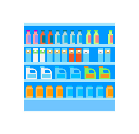 Grocery Shelves with Bottles and Packages Vector Banco de Imagens - 113461846