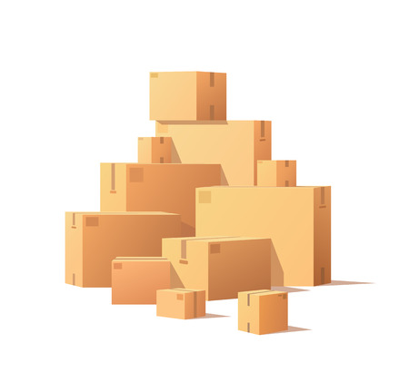 Pile Parcel Cardboard Boxes Stacked Sealed Goods Stock Photo