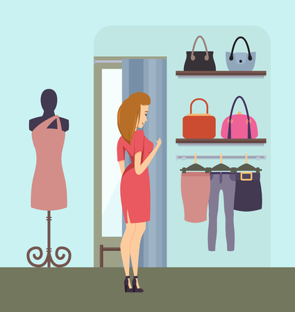 Shopping Woman Choosing Handbag in Store Vector