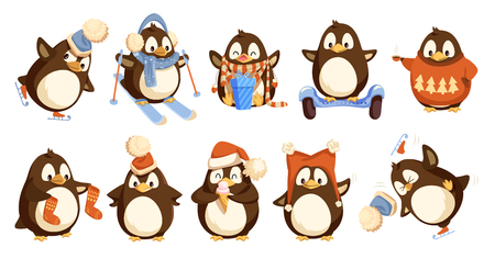 Penguins wearing winter warm clothes isolated set vector. Animal hat and sweater, socks and scarf opening present in bow with bow. Skiing activity Vectores