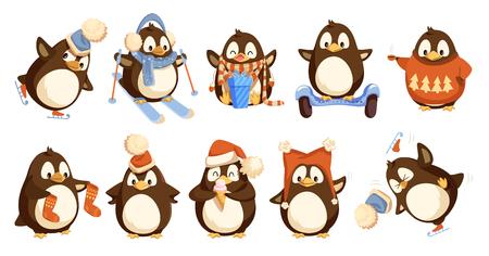 Pingouins portant des vêtements chauds d'hiver isolés set vector. Bonnet et pull animalier, chaussettes et écharpe ouverture présente en nœud avec nœud. Activité de ski