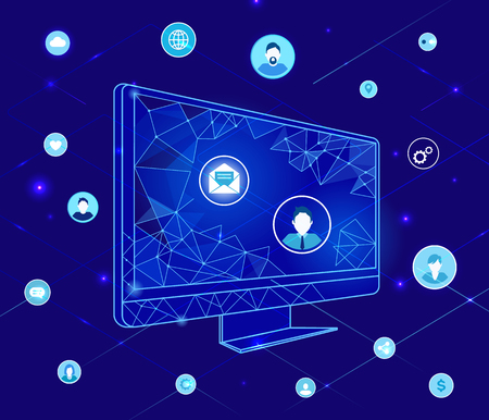 Compute with Geometric Shapes and Icons Vector Иллюстрация