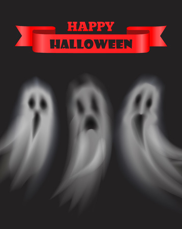 Happy Halloween poster with text and ghosts set vector. Ribbon banner for text, apparition with evil expression. Poltergeist creature at night places Ilustrace