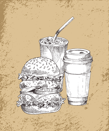 Refreshing ice drink in disposable glass with straw, coffee or tea paper cup and large burger. Takeaway fast food sketch illustration on vintage tint.
