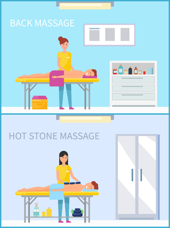 Back and hot stone method of massage set vector. Massaging techniques of women, lotions usage in salon, man relaxing, treated with heat and warmth