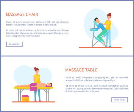 Massage chair and table places of patients and clients treatment vector. Posters set with text sample and masseuse with males rubbing back of person
