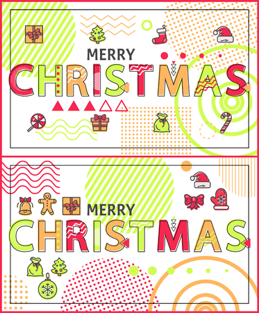 Merry Christmas Linear Festive Holiday Banners Set