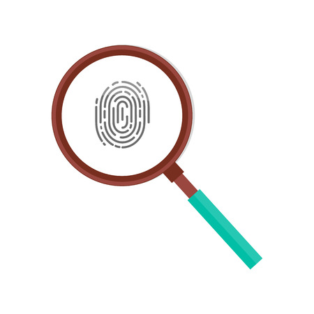 Fingerprint in magnifying glass vector icon isolated. Personal identity sign, detective research concept. Investigation of thumb prints by magnification loupe