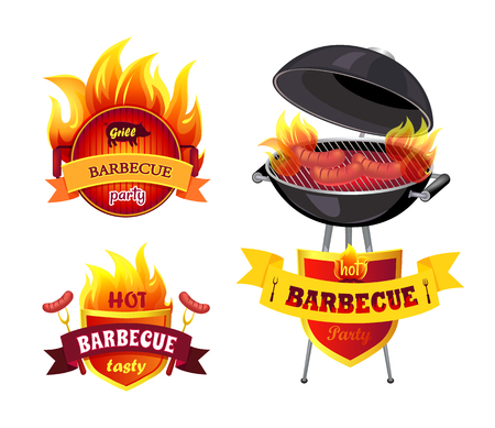 Grill BBQ Barbecue Party Set Vector Illustration Çizim